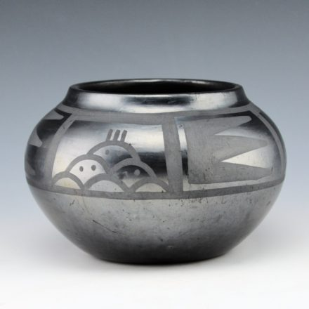 Roybal, Tonita – Gunmetal Fired Jar with Cloud Designs