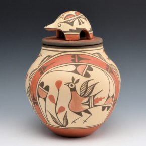 Medina, Elizabeth – Tall Jar with Birds, Rainbow & Turtle Lid
