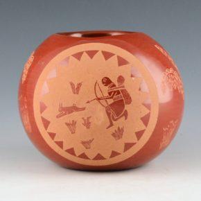 Tafoya, Camilio – Large Seedpot with Rabbit Hunters (1973)