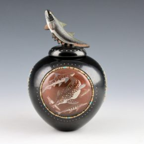 Moquino, Jennifer & Russell Sanchez – Jar with Fish Medallions and Lid
