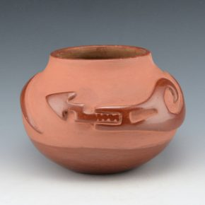 Pena, Juanita – Red Carved Bowl with Avanyu (1930's)