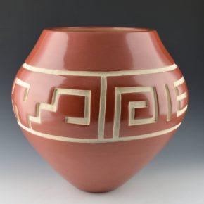 Tafoya, LuAnn – Large Red Bowl with Cloud, Kiva Step & Rain Designs