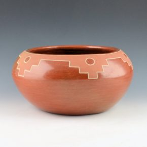 Tafoya, Margaret – Red on Red Bowl with Cloud Designs (1960's)