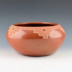 Tafoya, Margaret – Red on Red Bowl with Cloud Designs (1960's)