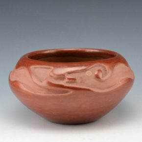 Martinez, Maria – Red Carved Bowl with Avanyu (1930's), Maria/Julian
