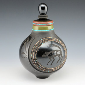 Sanchez, Russell  – Lidded Jar with Fox Medallion & Turquoise