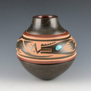 Sanchez, Russell  – Black-and-Red Double Shoulder Jar with Avanyu