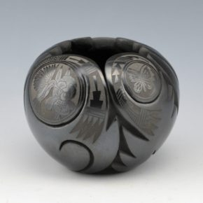 Medicine Flower, Grace – Black Carved Bowl with Butterflies & Hummingbirds (1989)