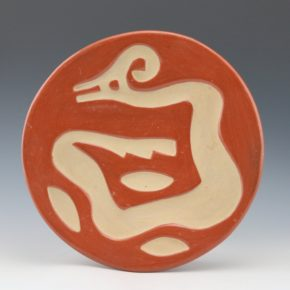Pena, Isabel – Red & Tan Carved Plate with Avanyu (1930's)
