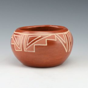 Tafoya, Margaret – Red on Red Bowl with Kiva Step Designs (1960's)