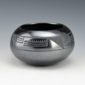 Martinez, Maria –  Gunmetal Bowl with Water and Wind Design (late 1920's)