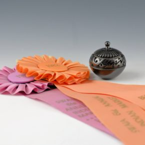 Youngblood, Nancy – Mini Lidded Bowl with 36 Feathers, Avanyu & Ribbons (1982)