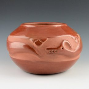 Gonzales, Ramona Sanchez – Red Jar with Carved Avanyu (1930's)