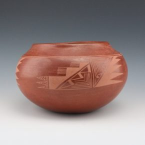 Gonzales, Ramona Sanchez – Red Bowl with Rain Patterns (late 1920's)