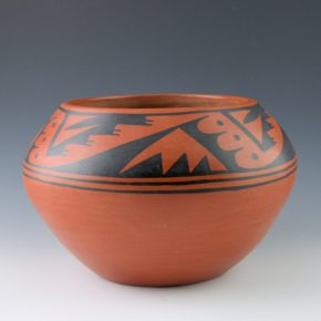 Roybal, Tonita – Black-on-Red Bowl with Mountain & Cloud Designs (1932)
