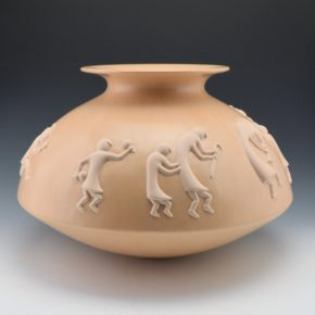 Qoyawayma, Al – Large Wide Jar with Dancers and Jaguar