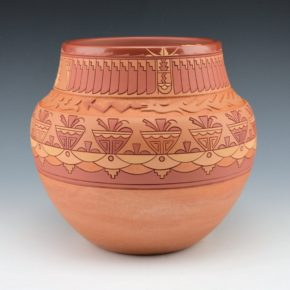 Curran, Dolores – Large Polychrome Jar with Feather and Avanyu Design