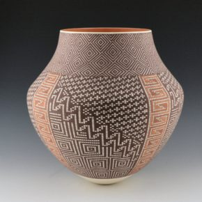 Antonio, Frederica – Large Jar with Rug Bands and Diamond Design Rim