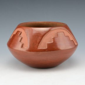 Gonzales, Juanita – Red Bowl with Mountain and Rainbow Design (1930's)