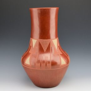 Roybal, Tonita -Tall Red Jar with Feather Designs (Late 1930's)