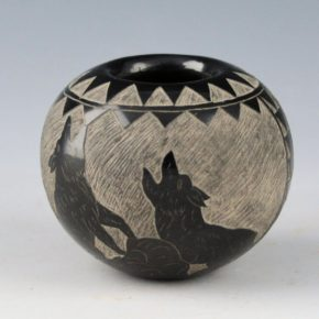 Red Starr, Elmer – Bowl with Coyote, Arrowhead and Feathers