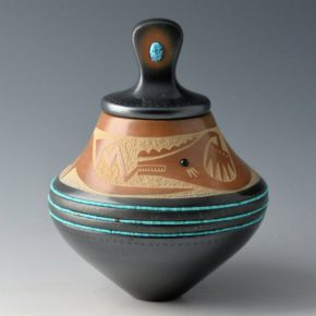 Sanchez, Russell  – Black & Sienna Lidded Jar with Avanyu