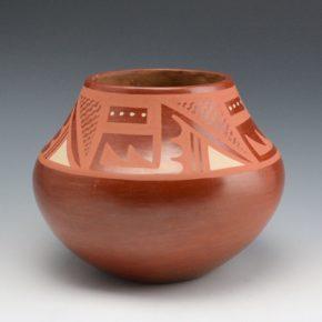 Roybal, Tonita – Red Jar with Rain & Mountain Designs (1930's)