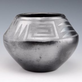 Roybal, Tonita – Gunmetal Bowl with Mountain & Wind Designs (1920's)