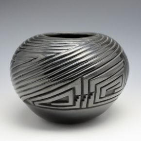 Medicine Flower, Grace – Large Carved Bowl with Rounded Melon Swirl Designs (1991)