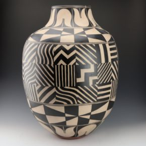 Holt, Lisa & Harlan Reano – Storage Jar with Rain Geometric Panels