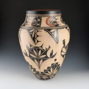 Ortiz, Virgil – Large Traditional Jar with Rainbow & Plant Designs