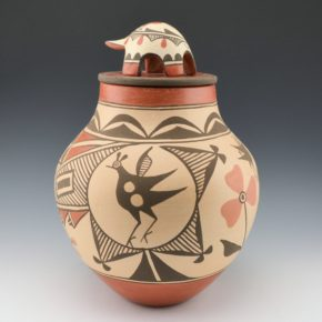 Medina, Elizabeth & Marcellus – Large Jar with Birds, Rain & Turtle Lid