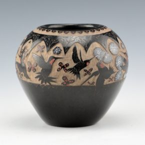 "Garcia, Gloria ""Golden Rod"" – Bowl with Hummingbirds & Butterflies"