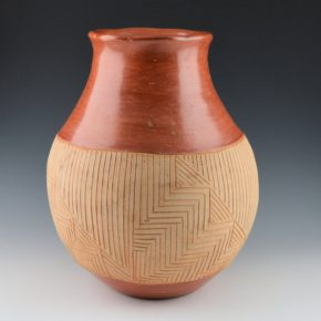 Montoya, Tomasita – Incised Red & Tan Water Jar (1940's)