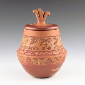 Curran, Dolores – Polychrome Jar with Butterflies and Carved Lid