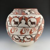 Jennie Laate, Zuni, Large Jar with Deer Design, 1970's