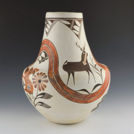 Chino, Marie Z. – Large Rainbow Water Jar with Heartline Deer and Parrots (1970's)