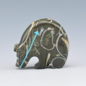 Laiwakete, Rodney –  Fossil Stone Bear with Turquoise Heartline