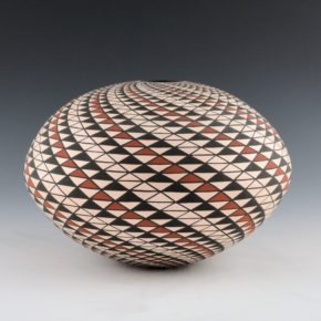 Kasero, Sr., Robert – Seedpot with Red & Black Op-Art Spiral Design