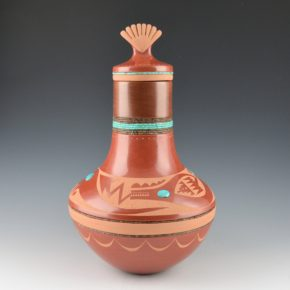 Sanchez, Russell  – Long Neck Jar with Avanyu & Shell Lid (2007)