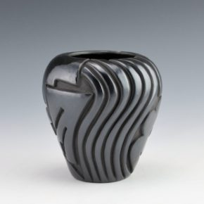 Diaz, Tina – Black Jar with Carved Rain Designs