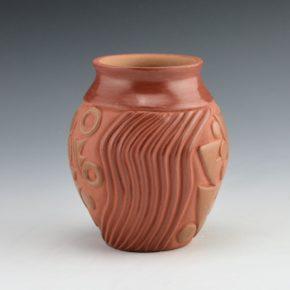 Diaz, Tina – Red & Tan Jar with Rain Design