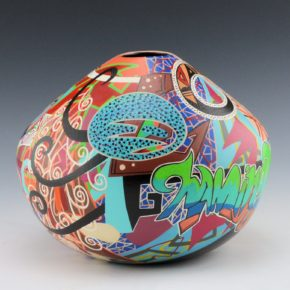 "Namingha, Les – ""Namingha"" Hopi Birds & Graffiti Style Jar"