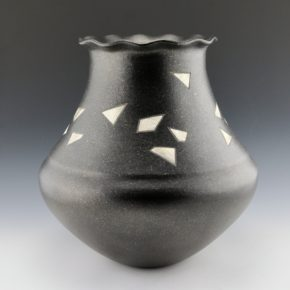 "Duwyenie, Preston – ""Shards"" Black Water Jar with 21 Silver Insets"