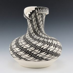 Garcia, Shana – Long Neck Jar with Lightning Design and Bird Relief Rim