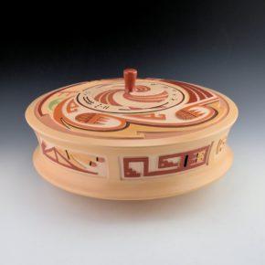 """Qoyawayma, Al – """"Modern Migration"""" Polychrome Lidded Jar"""