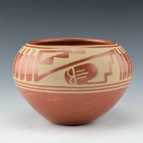 Sanchez, Angelita – Red Bowl with Feathers & Rainclouds