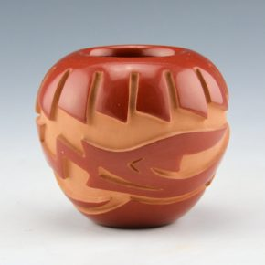 Vigil, Ethel – Carved Bowl with Feather & Avanyu