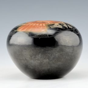 "Sanchez, Kathy ""Wan Povi"" – Black and Sienna Seedpot with Avanyu Design"
