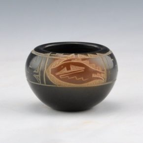 Naranjo-Romero, Monica – Black & Sienna Bowl with Fish Design